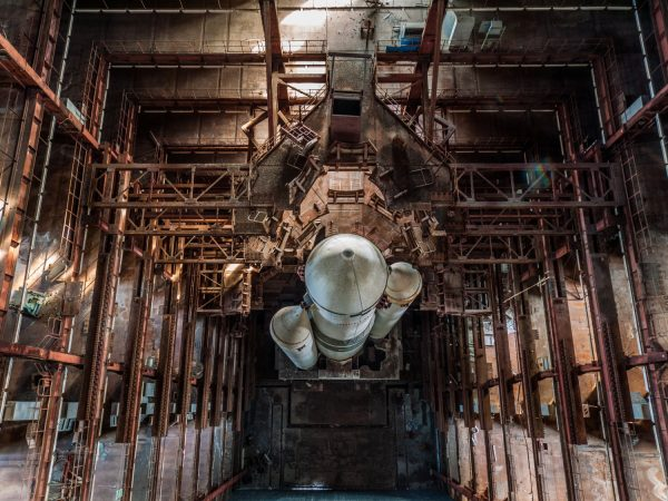 1970's Soviet rocket still stands tall in disused hanger